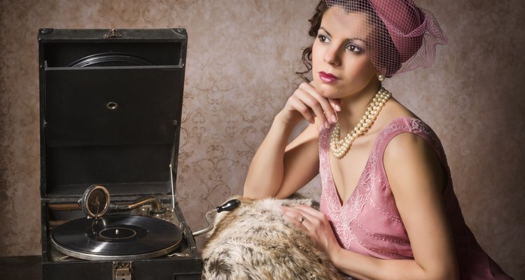 Vintage woman and record player