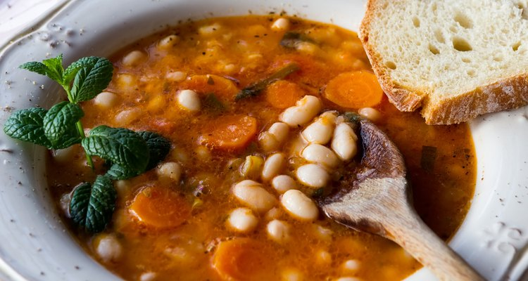 Plate with bean soup.Selective focus