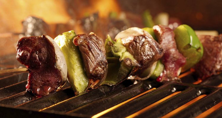 beef shishkababs on the grill close up