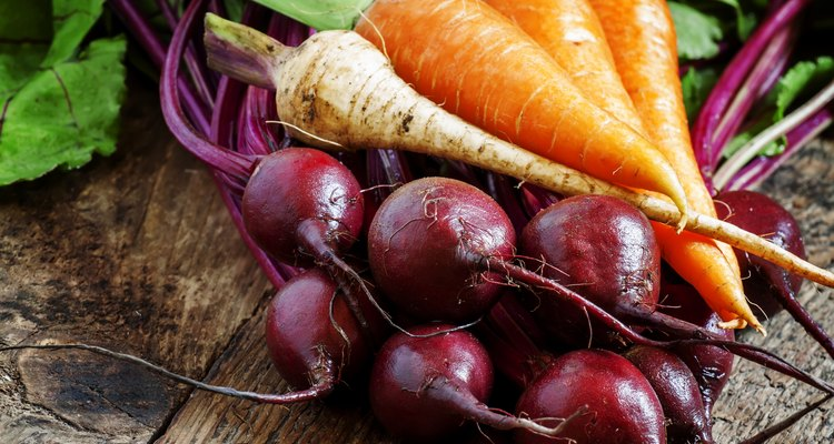 Fresh organic beets and carrots
