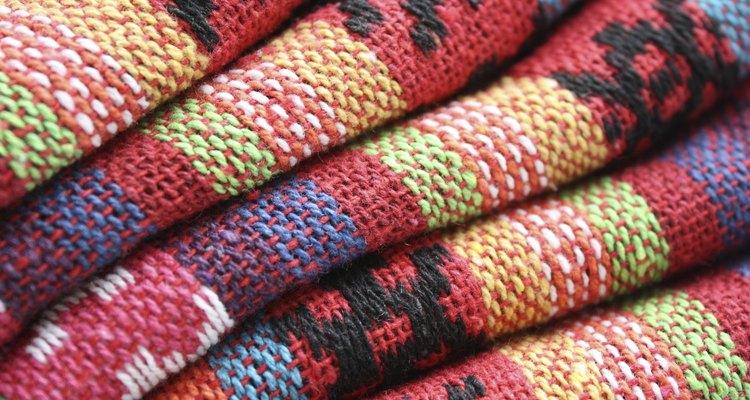 Cobertores de lã dobrados