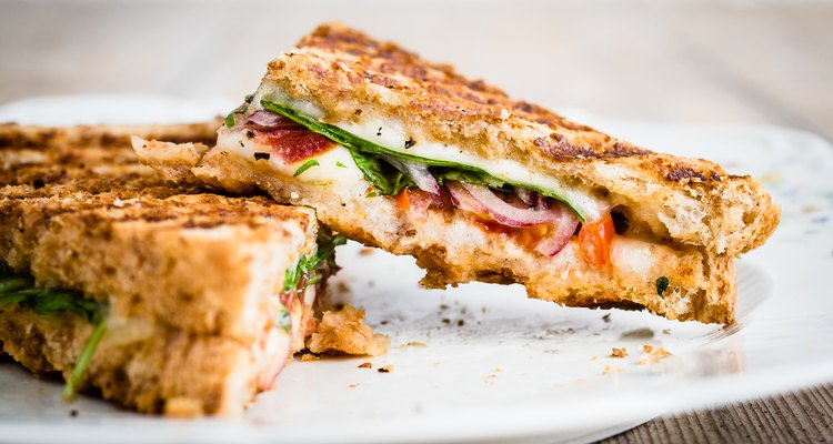 Vegetarian panini with tomatoes and mozzarella
