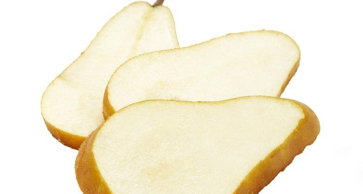 Fan-cut a pear for a cheese plate garnish.