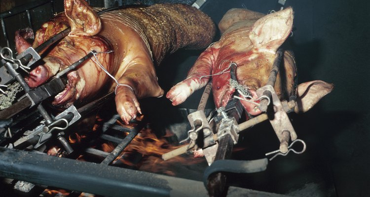 Antes de poner el cerdo sobre las llamas, el animal debe ser sacrificado y limpiado correctamente.