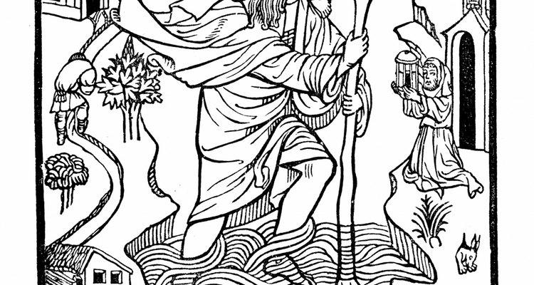 Según la leyenda, San Cristóbal transporto a Cristo a través de un río traicionero.