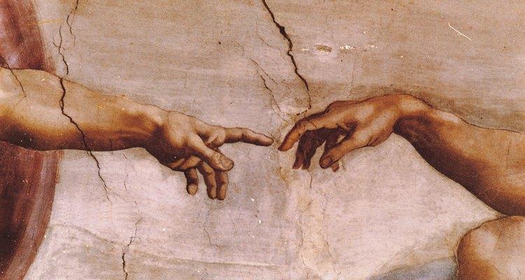 Deus criando o homem: detalhe da Capela Sistina, de Michelangelo Buonarroti, 1512