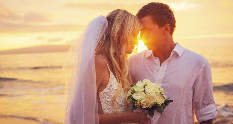 Bride and Groom, Enjoying Amazing Sunset
