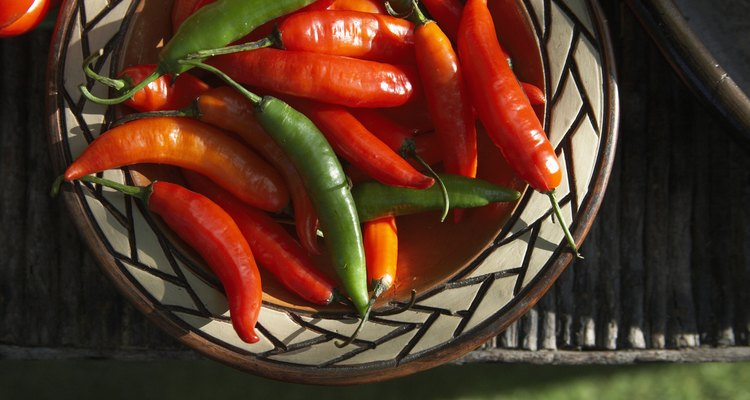 Bowl of hot peppers, elevated view