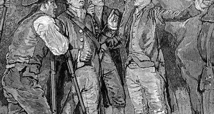 Imagen que ilustra la llegada de Paul Revere a Lexington.
