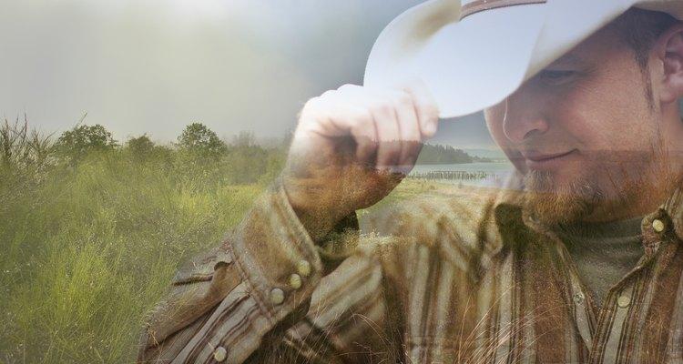 Digital composite of cowboy and coastline