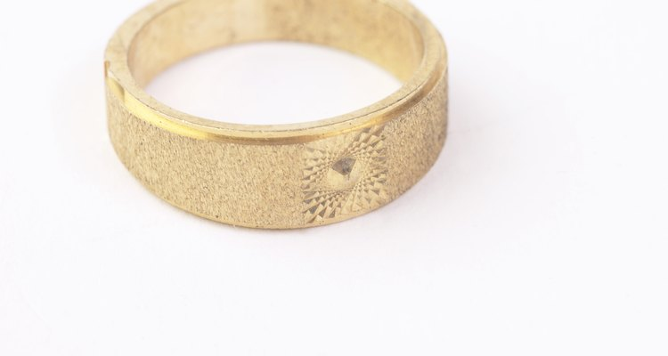 Studio shot of contemporary gold ring
