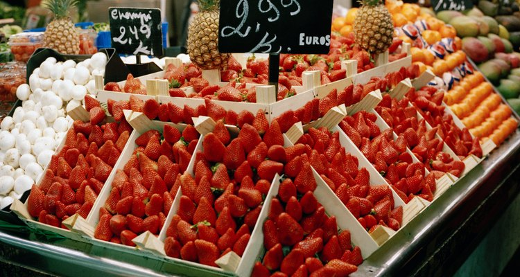 Strawberries on a stall in a market