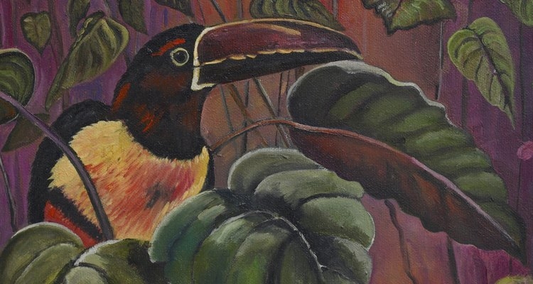 A base colour is used to create the colour of the bird's environment in most paintings.