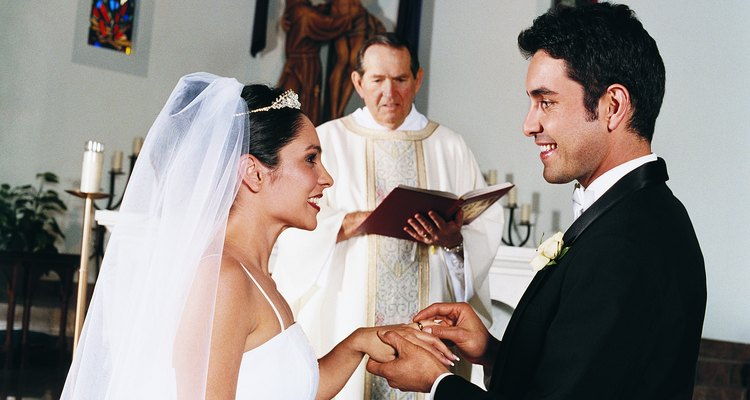 Bride and Groom Exchange Rings in Church Ceremony