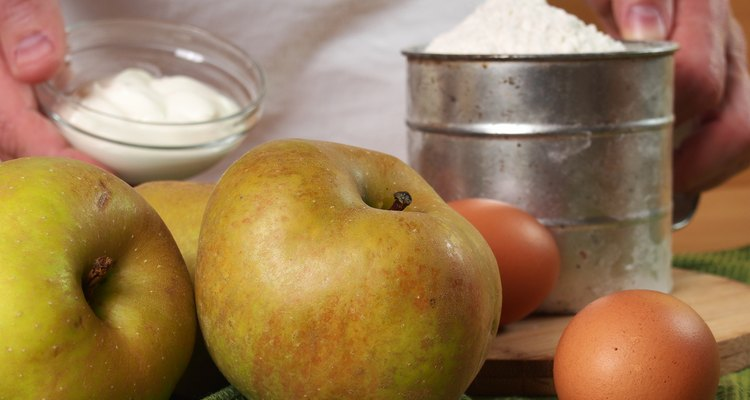 Ingredients to make apple pie. Making Apple Pie Tart Series.
