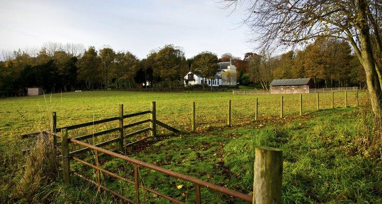Una puerta y corral en una granja.