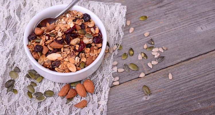Granola from several types of cereals with nuts