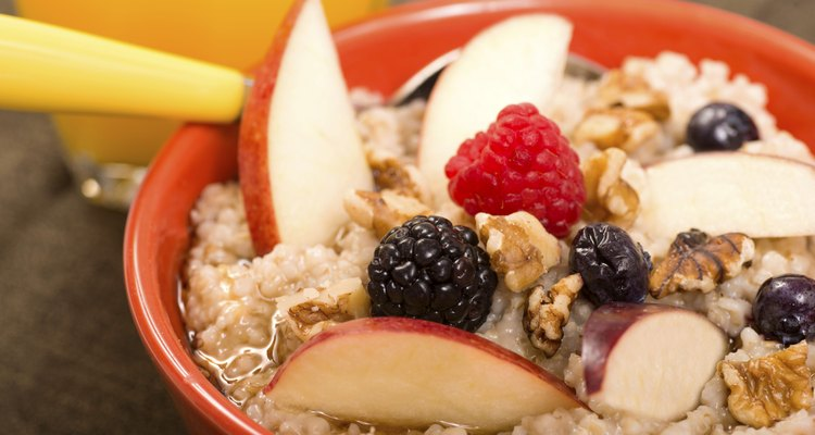 Steel cut oats served with fresh fruit and honey