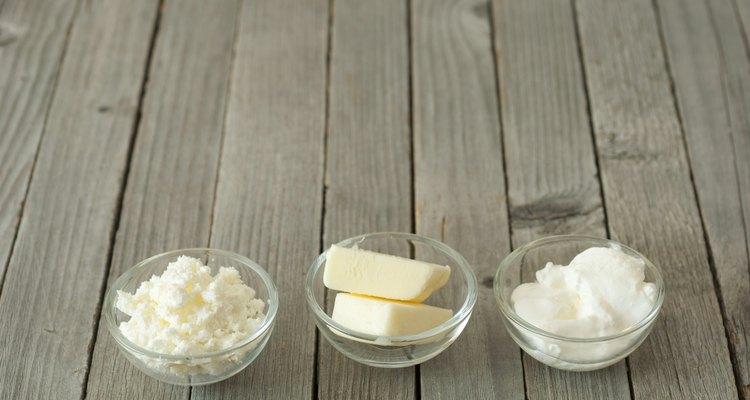 Curd cheese, butter, creme fraiche