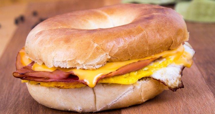 Ham Cheese and Egg Breakfast Bagel Sandwich