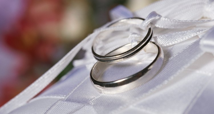 Wedding rings and ribbons