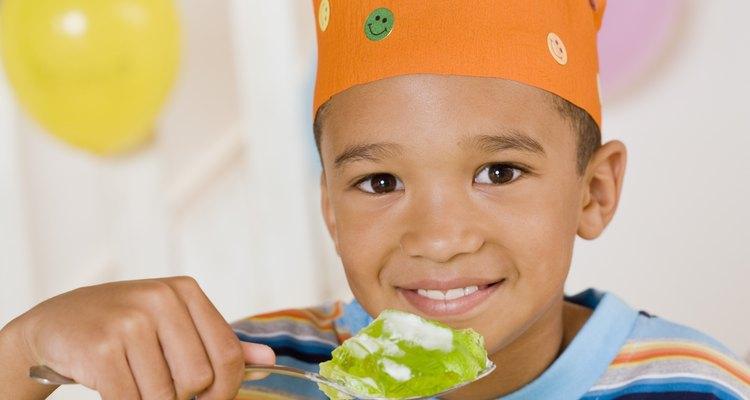 Boy eating gelatin cake