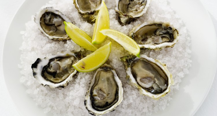Elevated view of oysters served on ice