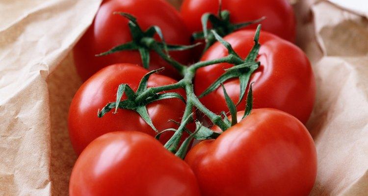 Vine tomatoes in paper bag