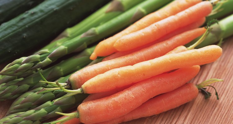 Closed Up Image of Carrots, Green Asparagus and Cucumbers, High Angle View, Differential Focus