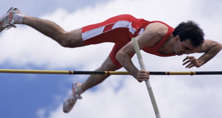 At the top of his vault, the pole vaulter's energy is all in gravitational potential energy form.