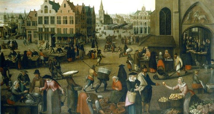 Los suministros de cocina del Renacimiento podían adquirirse en mercados al aire libre.
