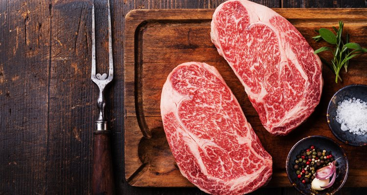 Two Raw fresh marbled meat Steak Ribeye