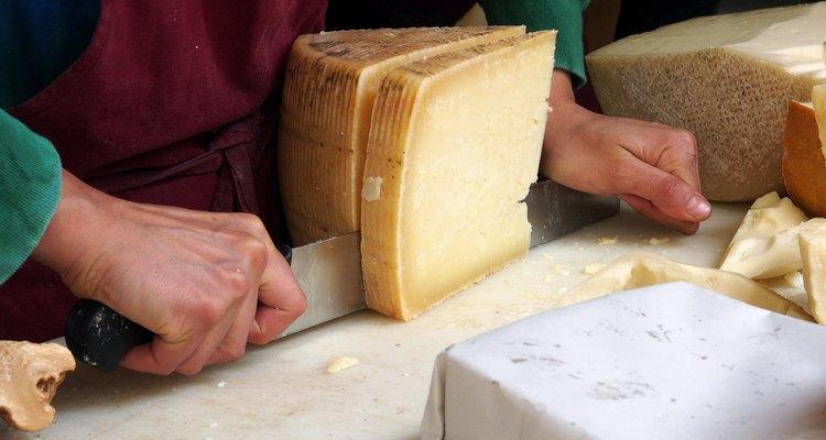Cutting pecorino cheese