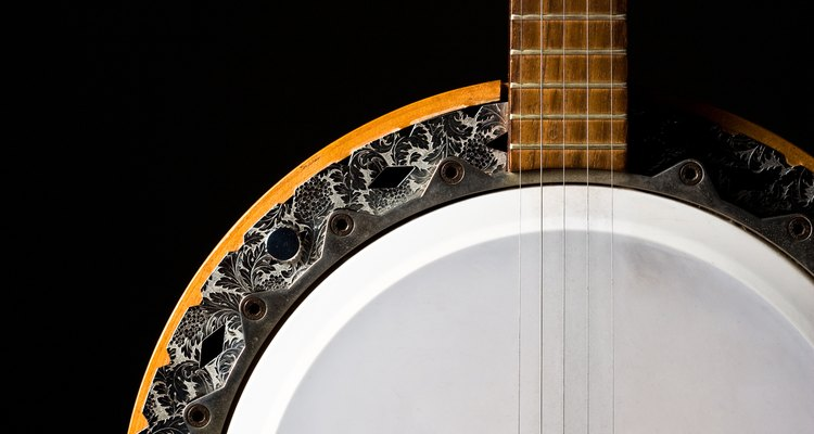 A five-string banjo, suitable for use with a Levy strap.