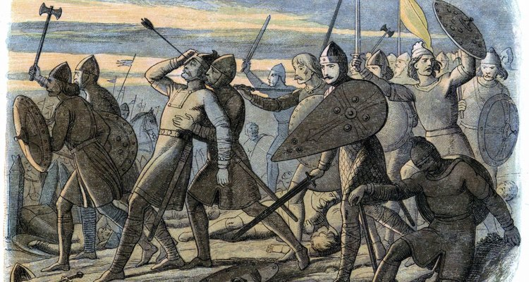 King Harold's English army lost at the Battle of Hastings.