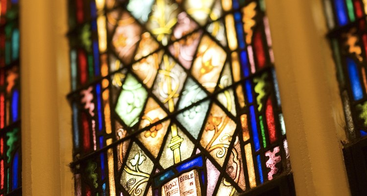 Church windows often feature intricate stained glass designs