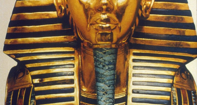 Mask of Tutankhamen made of hammered gold and other materials.
