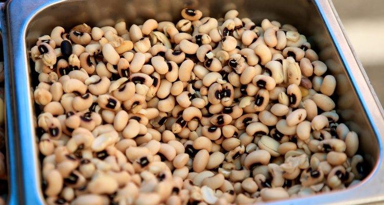 bin of fresh black eyed peas