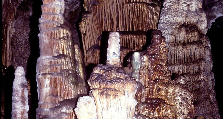Limestone creates beautiful stalagmites in a cave environment.