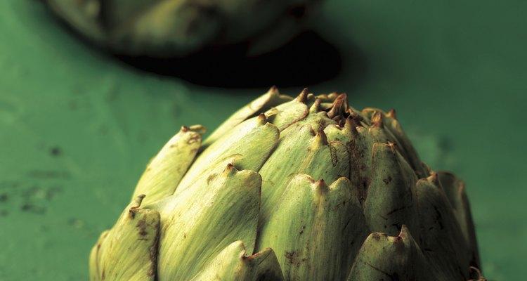 close-up of artichokes