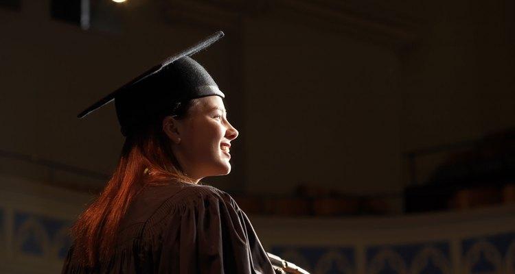 Woman giving speech at college graduation