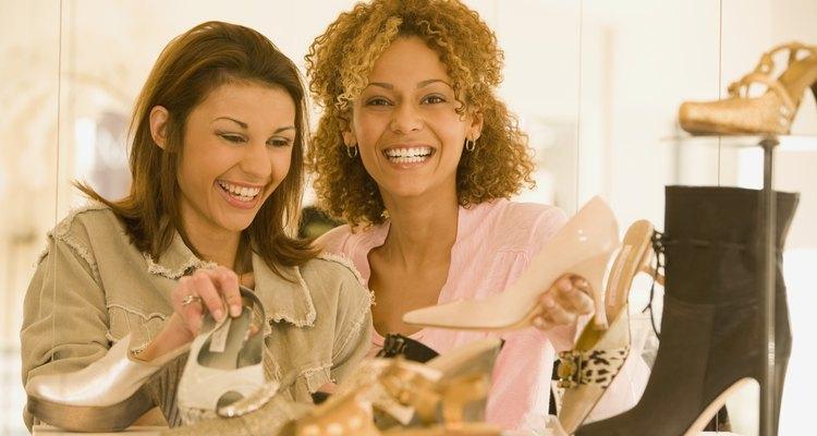 Multi-ethnic women shoe shopping