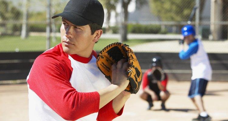 Man Playing Baseball in a Court, Wearing a Baseball Glove