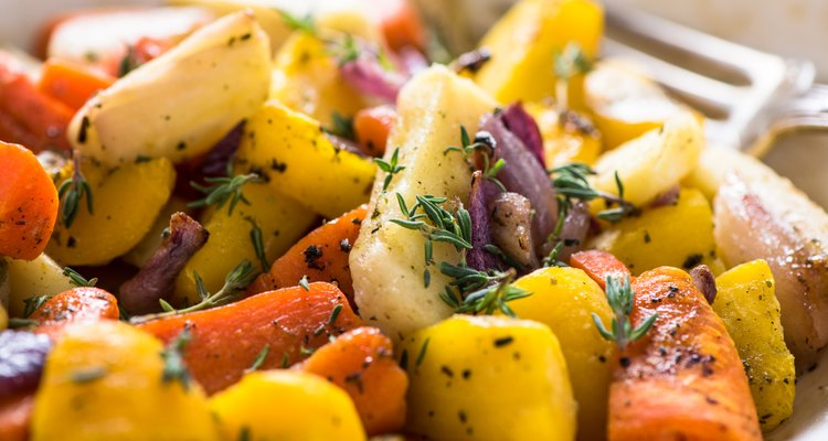 Roasted and baked root vegetables