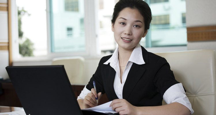 Businesswoman  use the computer