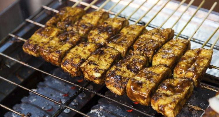 Barbecue  stinky tofu at night street market(vegan)