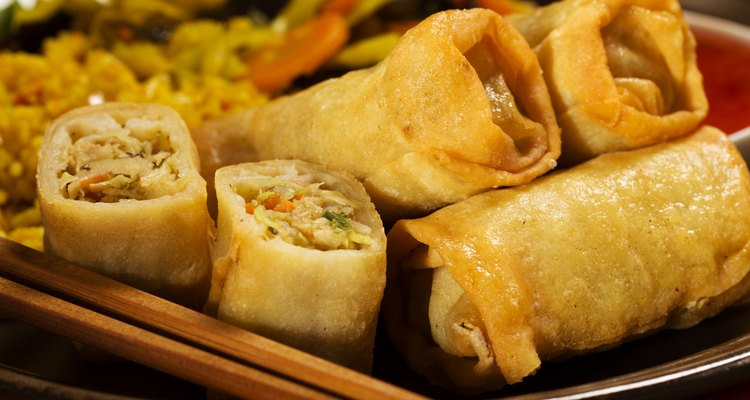 Baked spring rolls with deep, vegetables and rice.