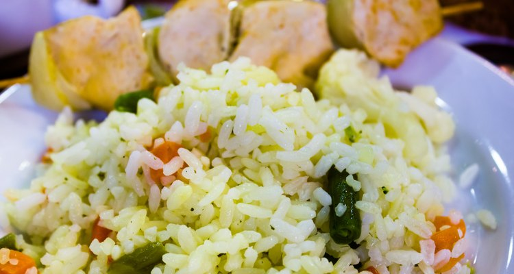 Rice with chicken and greens