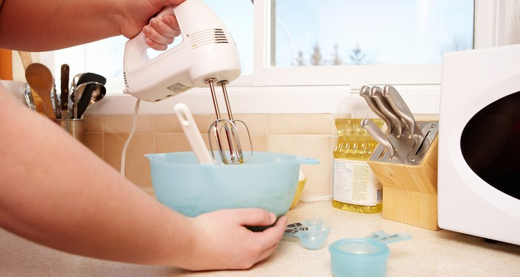 Mixing batter with electric mixer