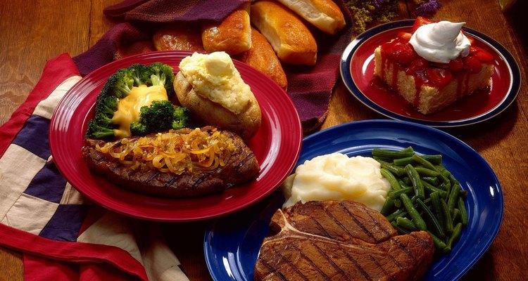 Steak dinners with strawberry shortcake